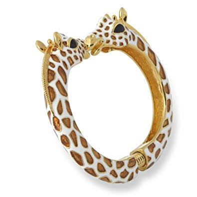 Kenneth Jay Lane Tan/White Giraffe Enamel Bypass Bangle Bracelet