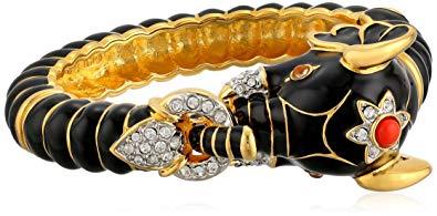 Kenneth Jay Lane Gold Crystal and Black Enamel Elephant Bracelet