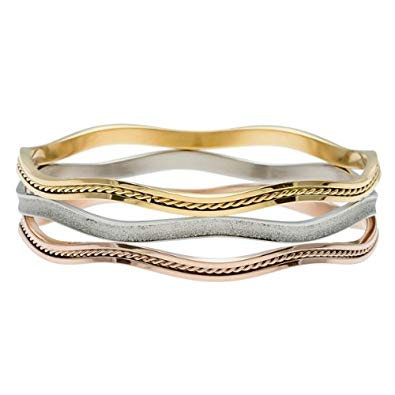 Stainless Steel Tri-Color Three-Layer Wavy Bangle
