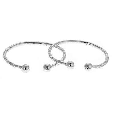 Large Ball .925 Sterling Silver West Indian Bangles (Pair) (MADE IN USA)