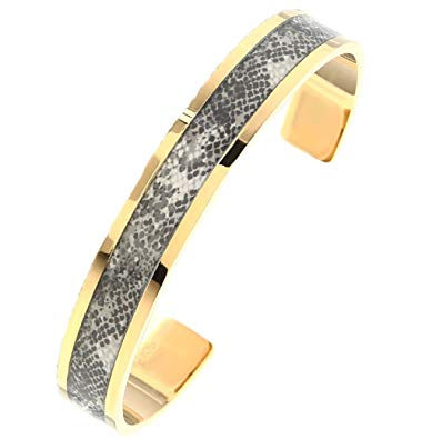 Selena Jewelry Stainless Bangle Solid Yellow Gold Python Snake Gray