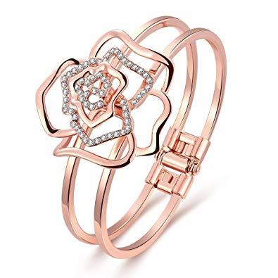 The Nile's Girl 18k Rose Gold Plated Rose Shape Open Bangle Bracelets for Women,valentine's Day Gift